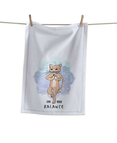 DISH TOWEL - TAG- FIND YOUR BALANCE CAT