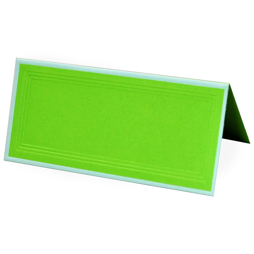 PLACE CARDS - OCM - LIME GREEN WITH WHITE BORDER SET OF 25