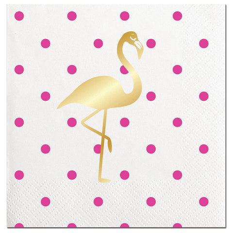 BEVERAGE NAPKINS -SL- GOLD FOIL FLAMINGO