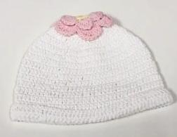 CROCHET HAT -DBB- FLOWER WITH YELLOW CENTER