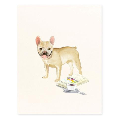 FRENCH BULLDOG COFFEE AND PAPER - GREETING CARD