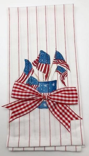 KITCHEN TOWEL - DBB - AMERICAN FLAGS WITH BOW