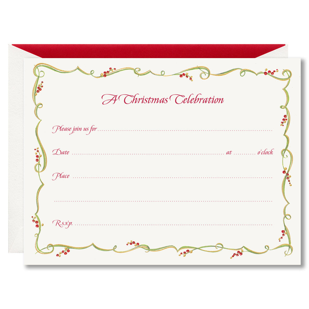 CHRISTMAS FILL-IN INVITATIONS - WA - GILDED BERRY VINE FILL-IN INVITATIONS BOX OF 10