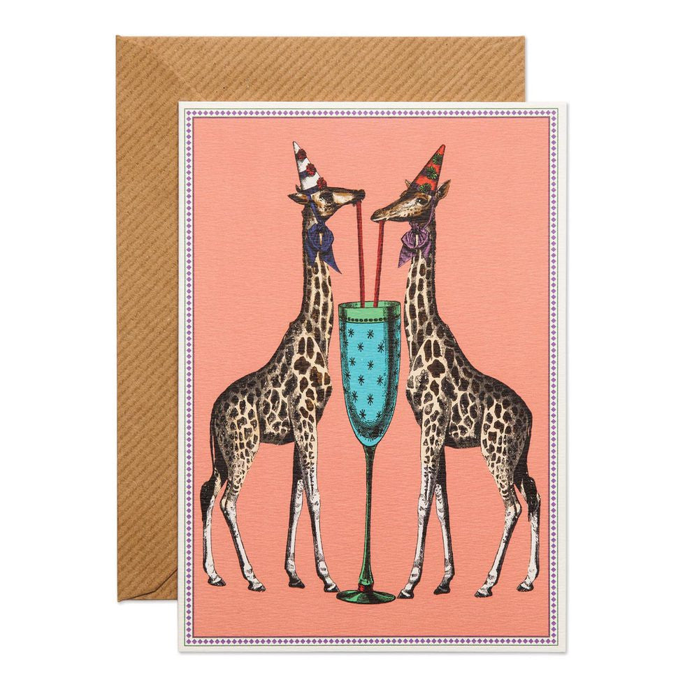 PARTY GIRAFFES - GREETING CARD