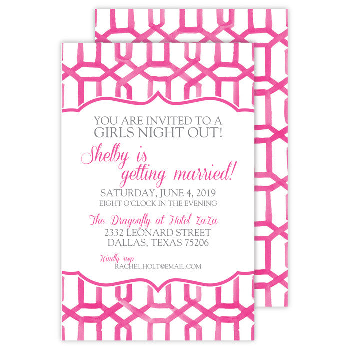 PINK PATTERN - IMPRINTABLE INVITATIONS