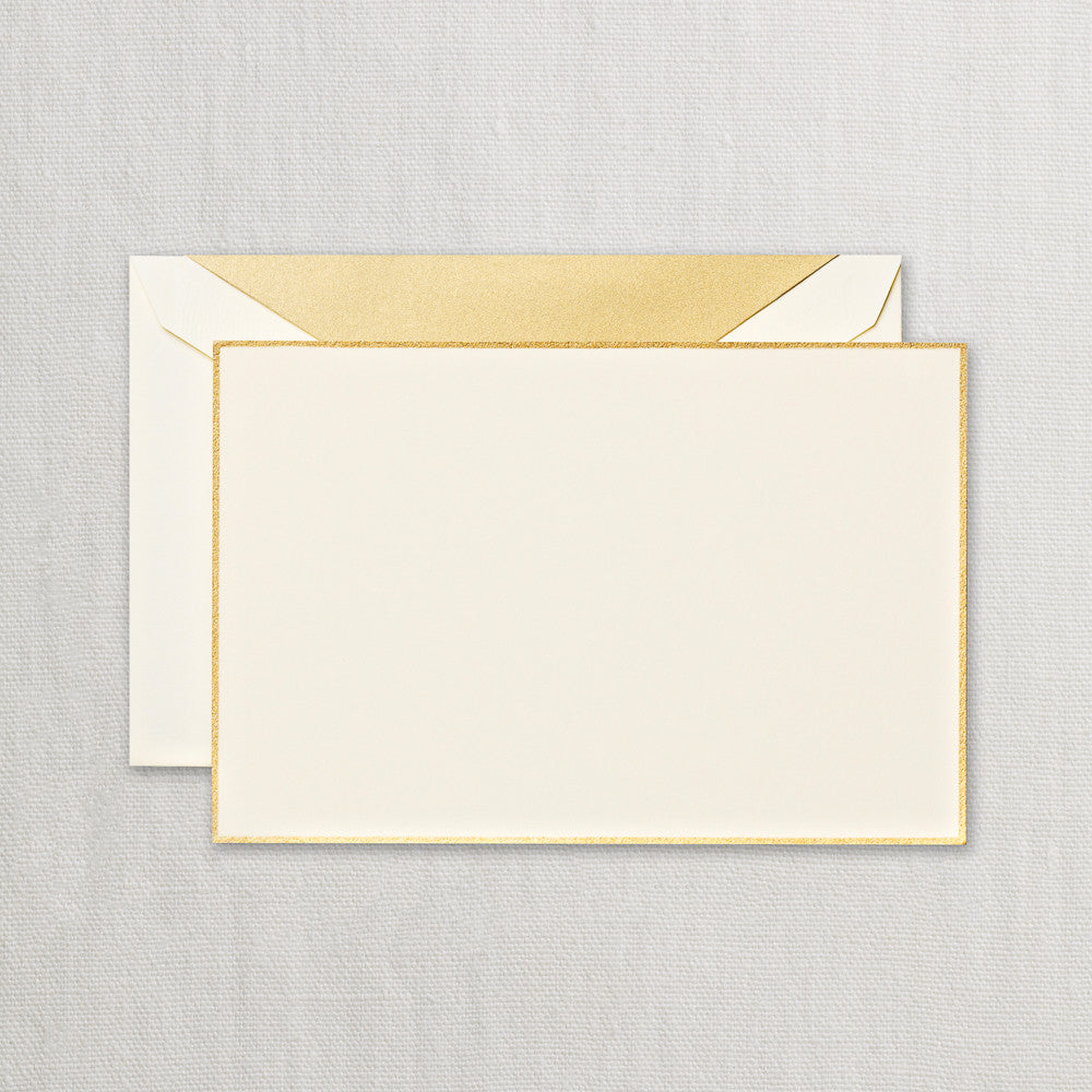 BOXED NOTE CARDS -CCO- GOLD BORDERED ECRUWHITE CARD