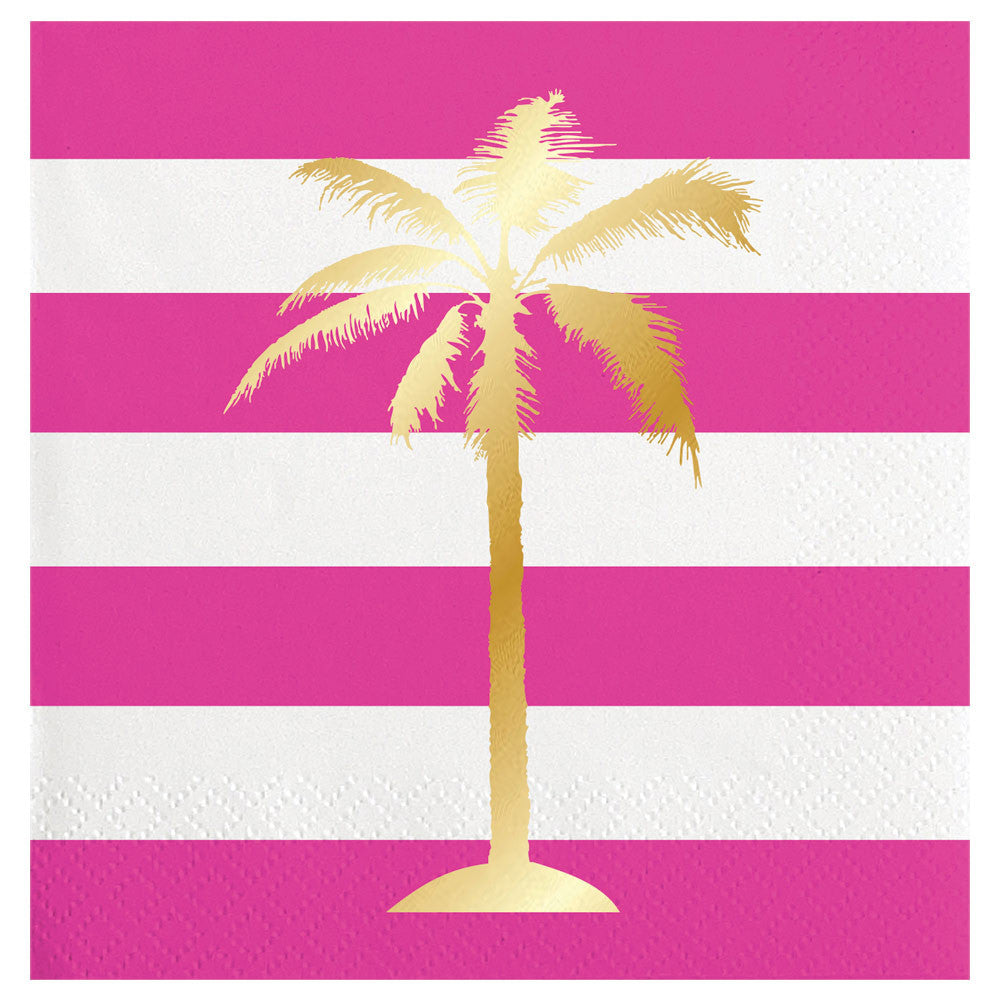 BEVERAGE NAPKINS - SL- GOLD FOIL PALM TREE