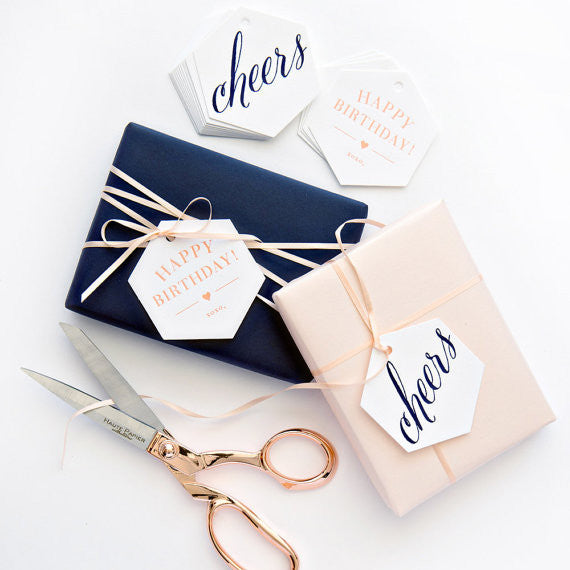 GIFT TAGS - HP - CHEERS/HAPPY BIRTHDAY LETTERPRESSED