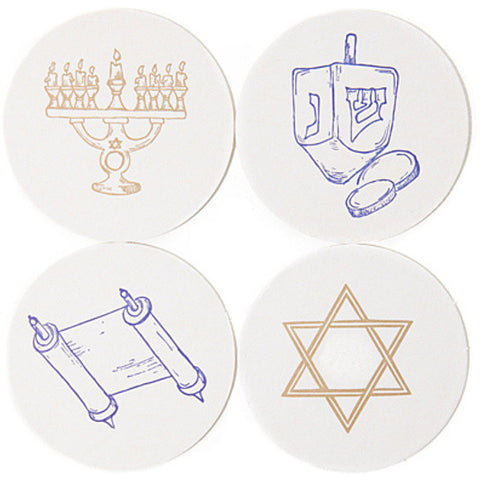 HANUKKAH COASTERS - HP - LETTERPRESSED HANUKKAH BOX OF 16