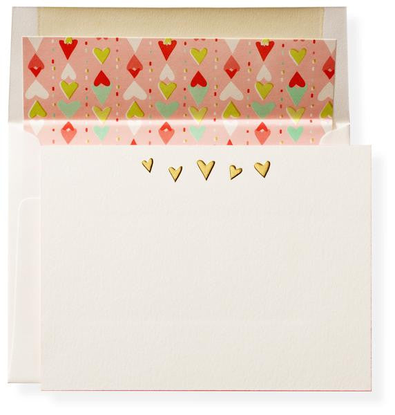 HEART BOXED NOTE CARDS - KA - EMBOSSED GOLD HEARTS