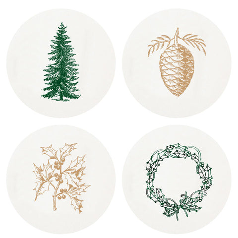 HOLIDAY SEASON COASTERS - HP -LETTERPRESSED  LARGE BOX OF 100