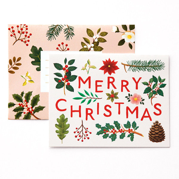 CHRISTMAS CARD - CC - MERRY CHRISTMAS WINTER FLORAL