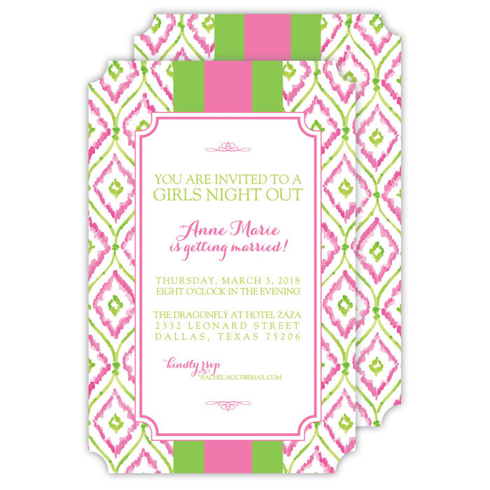 PINK AND GREEN IKAT - IMPRINTABLE INVITATIONS