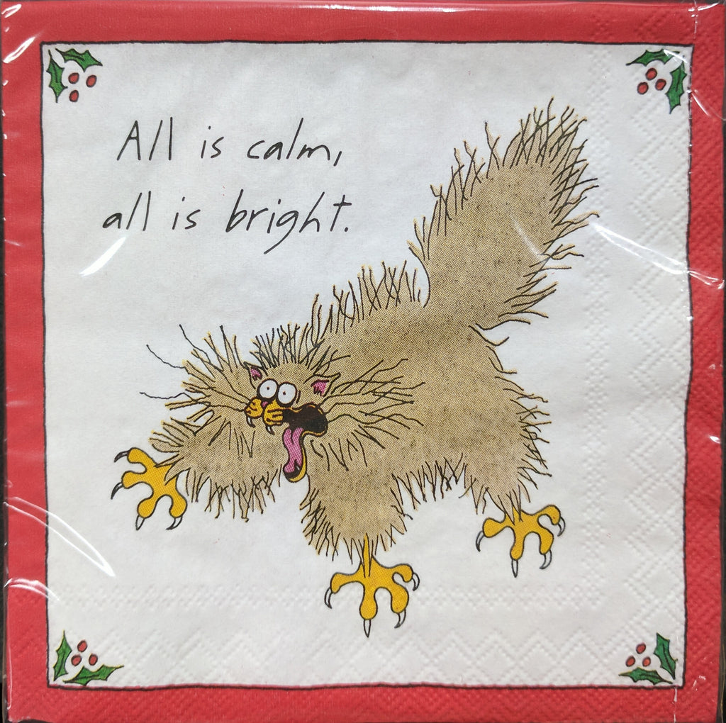 CHRISTMAS NAPKINS - DD - ALL IS CALM CAT