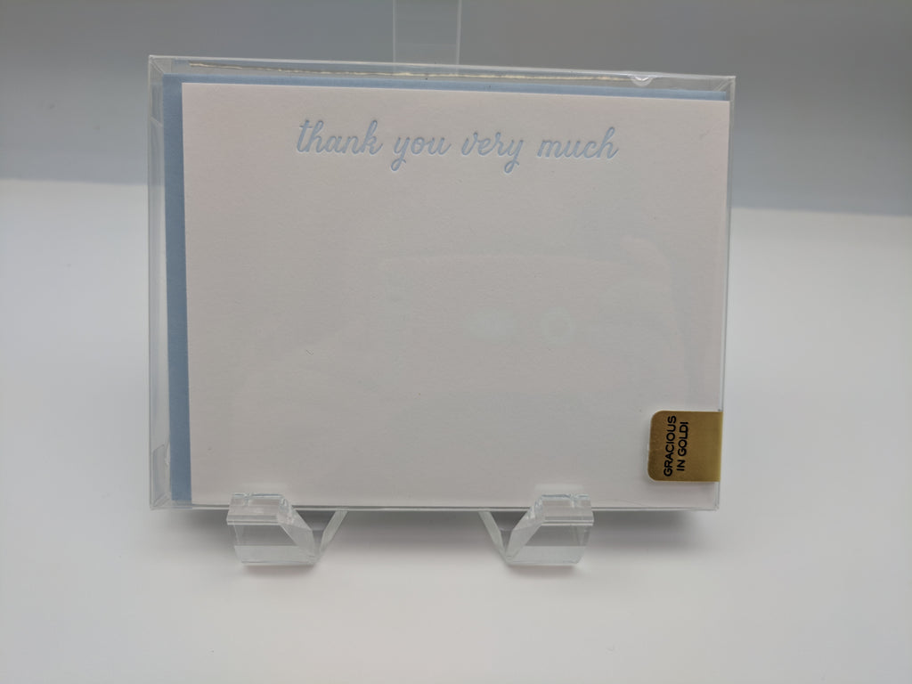 BOXED NOTE CARDS  - HP - GOLD LINED CORNFLOWER THANK YOU