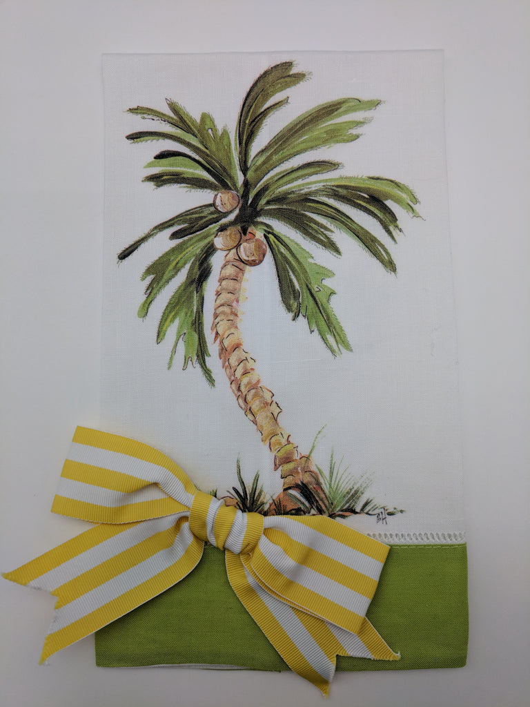 TEA TOWEL - DBB - PALM TREE - LIME BAND WITH BOW