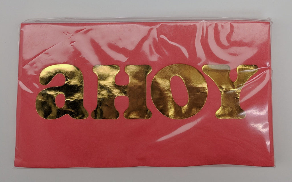 "GUEST TOWELS - SL - RED WITH GOLD FOIL ""AHOY"""