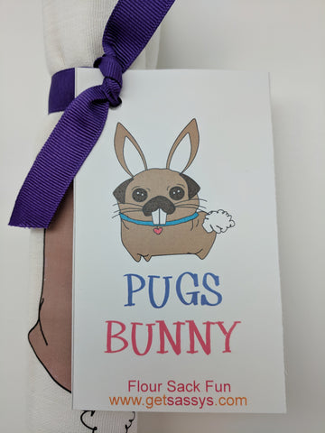 KITCHEN TOWEL - GS - PUGS BUNNY