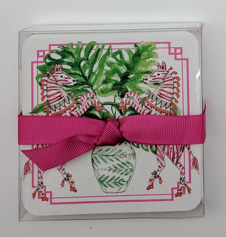 COASTERS - RAB - DUO ZEBRA CARDBOARD COASTERS SET OF 50