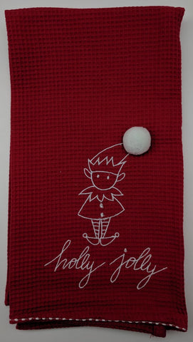 CHRISTMAS KITCHEN TOWEL -DTHY- HOLLY JOLLY BRIGHT RED TOWEL