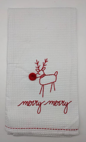 CHRISTMAS KITCHEN TOWEL -DTHY- MERRY MERRY RUDOLPH