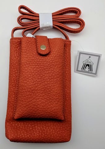 CROSS BODY BAG - TD - CELL PHONE CHARGING - ORANGE PEBBLE