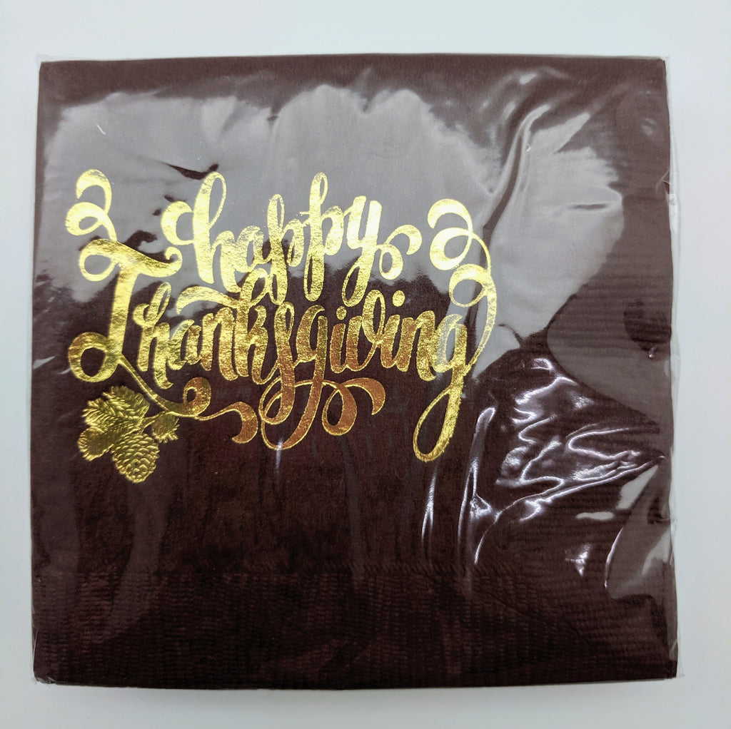 NAPKINS - BFS - THANKSGIVING FOIL HAPPY THANKSGIVING