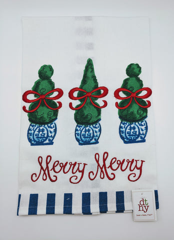CHRISTMAS TEA TOWEL -DTHY- BLUE AND WHITE TOMTOM
