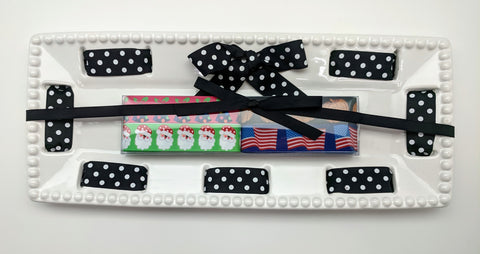 CAKE PLATTER -MSC- RECTANGLE- MULTI HOLIDAY RIBBONS