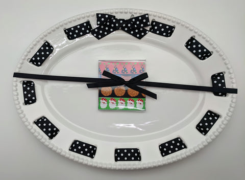 CAKE PLATTER -MSC- OVAL- MULTI HOLIDAY RIBBONS