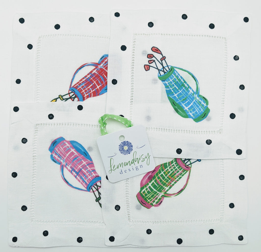 NAPKINS LINEN - LDD - GOLF BAG MULTI SET OF 4