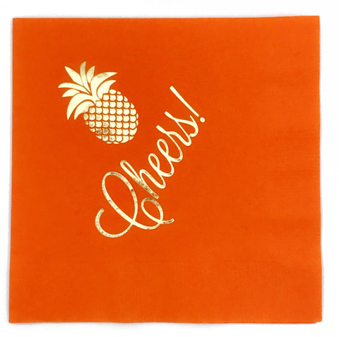 NAPKINS - AP - FOIL PINEAPPLE CHEERS