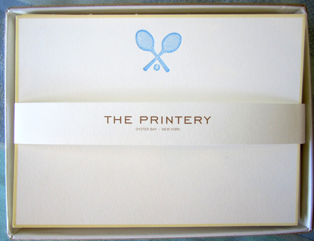 BOXED NOTE CARDS - TP - TENNIS RACKETS - ENGRAVED
