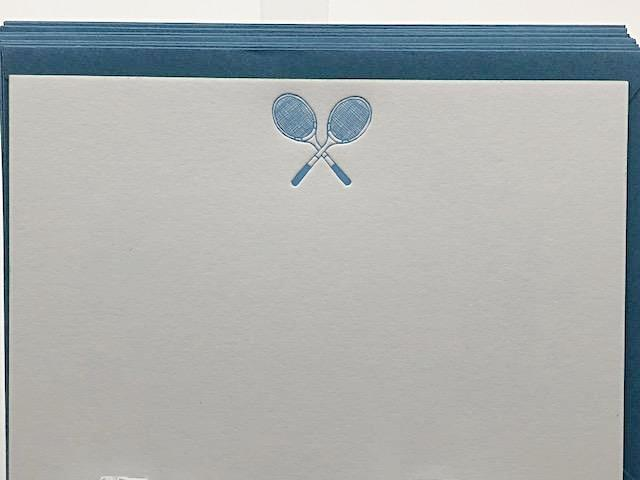 BOXED NOTE CARDS - PP - TENNIS RACKETS LETTERPRESS SET OF 10
