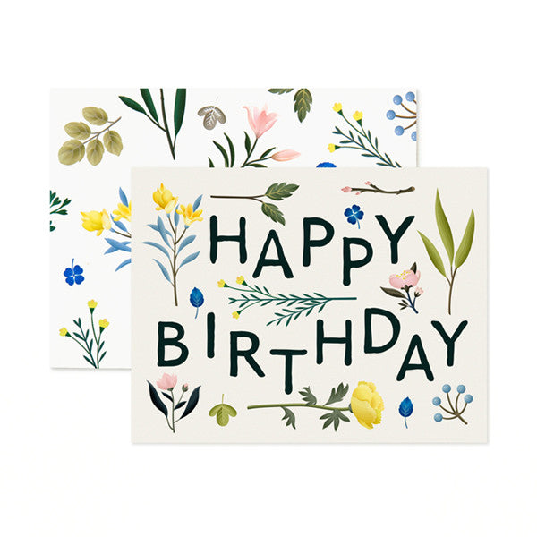 BIRTHDAY PLANTS ON IVORY - GREETING CARD