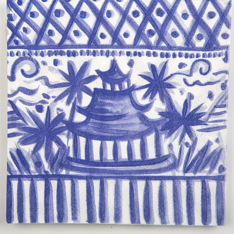 BEVERAGE NAPKINS - DTHY - BLUE AND WHITE CHINOISERIE