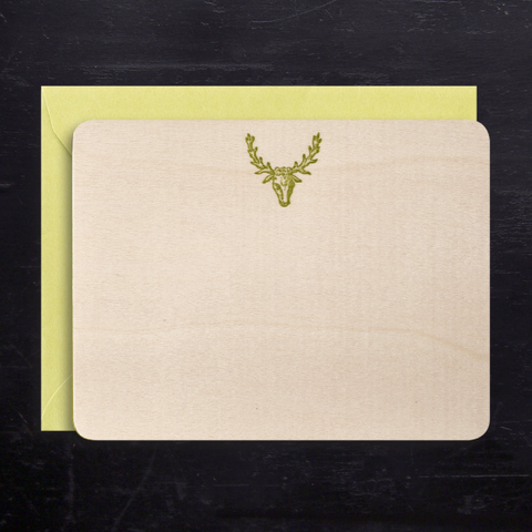 BOXED NOTE CARDS - AN - BIRCH WOOD VENEER ANTELOPE