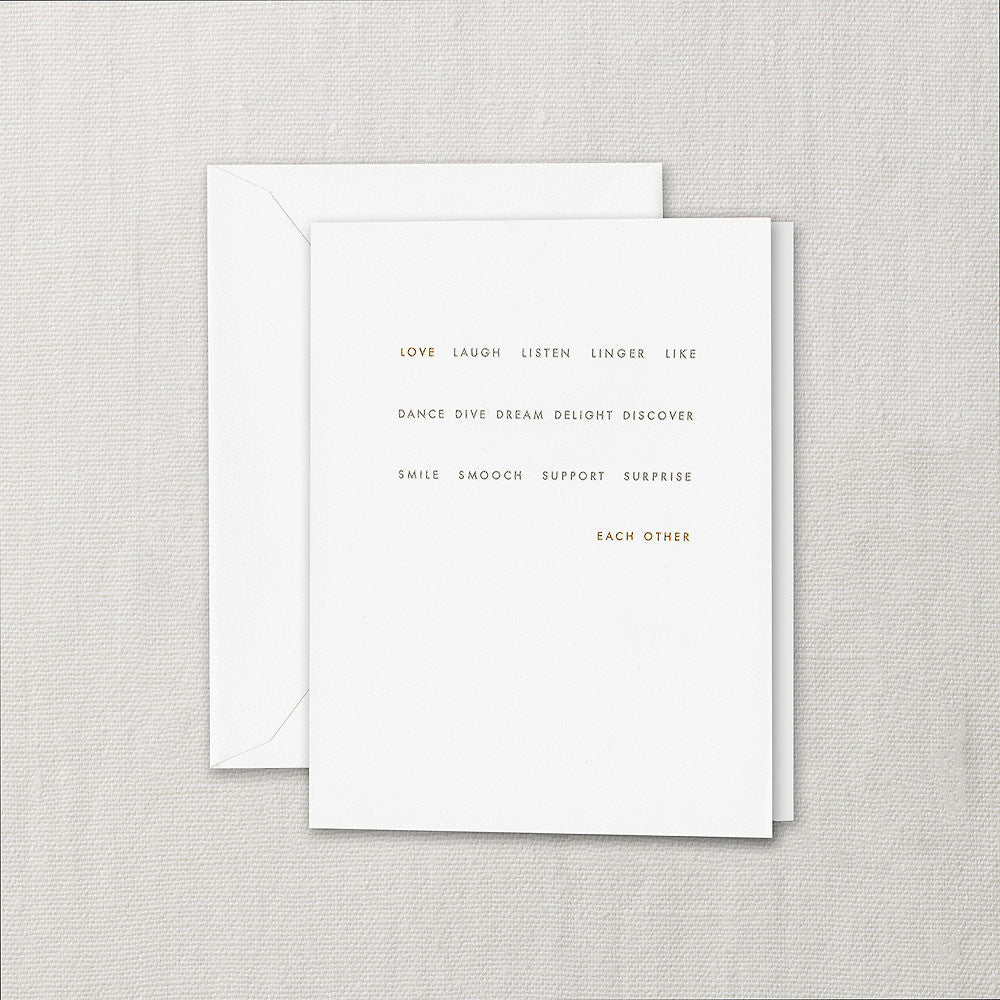 LOVE, LAUGH, LISTEN - WEDDING CARD
