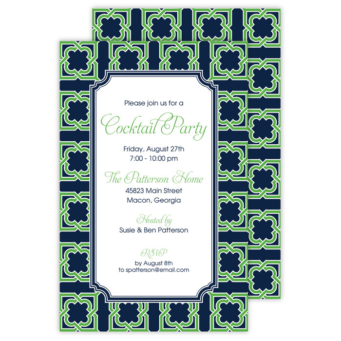 BOXED IMPRINTABLE INVITATIONS - RAB- MODERN TRELLIS NAVY/KELLY