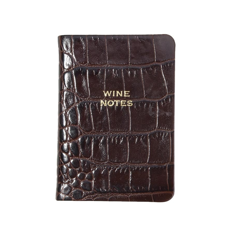MINI LEATHER BOOK - GI - WINE NOTES - CROCODILE BROWN