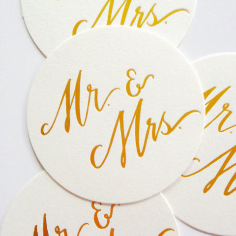 MR. & MRS. GOLD FOIL COASTERS