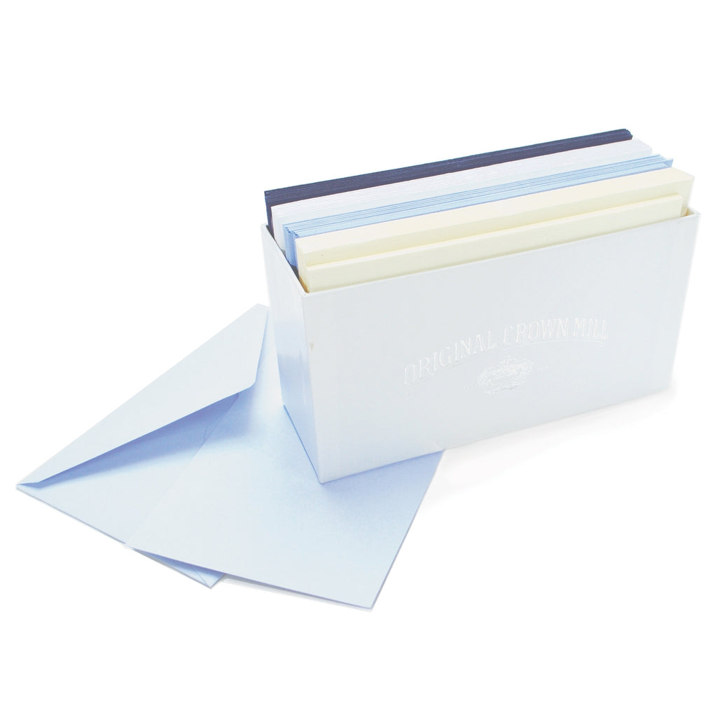 BOXED NOTE CARDS - OCM - NAVY, WHITE, AZURE, CREAM : 6 OF EACH 24 TOTAL