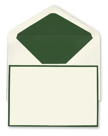 BOXED NOTE CARDS - OCM  - CREAM LAID WITH HUNTER GREEN BORDER