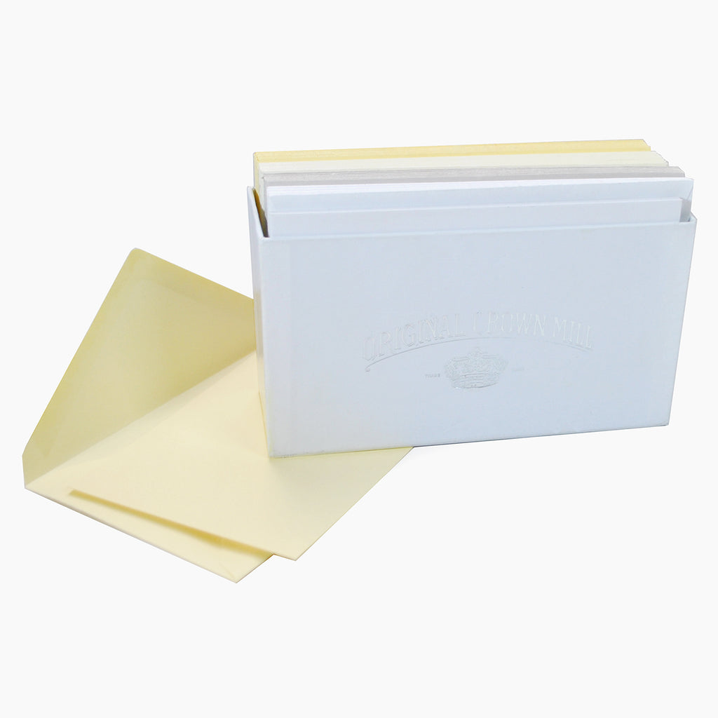 BOXED NOTE CARDS - OCM - BUTTER, CREAM, WHITE, GREY SET OF 24