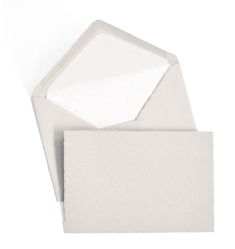 BOXED NOTE CARDS - OCM - GREY LAID-DECKLED EDGE