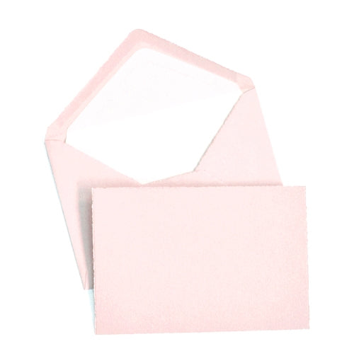 BOXED NOTE CARDS - OCM - LIGHT PINK LAID-DECKLED EDGE