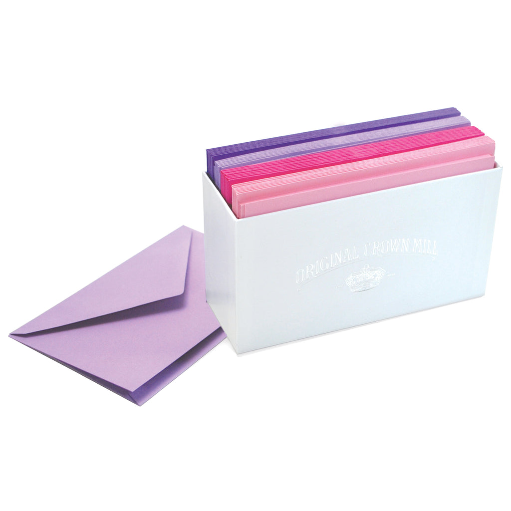 BOXED NOTE CARDS - OCM - PURPLE, LAVENDER, HOT PINK, PINK