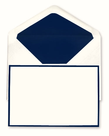 BOXED NOTE CARDS - OCM  - CREAM LAID WITH NAVY BORDER