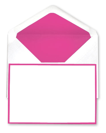 BOXED NOTE CARDS - OCM - WHITE LAID WITH FUCHSIA BORDER