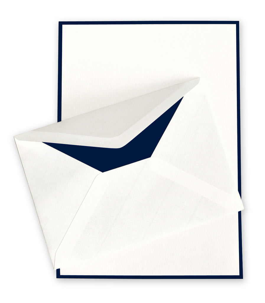 BOXED SHEETS - OCM - IVORY WITH NAVY BORDER